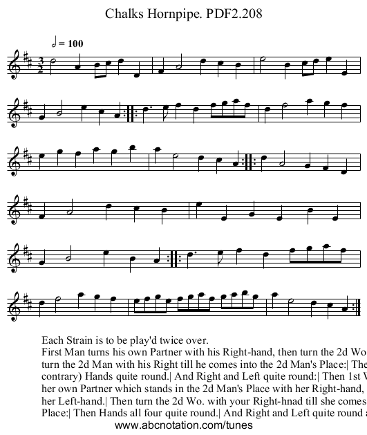 Chalks Hornpipe. PDF2.208 - staff notation