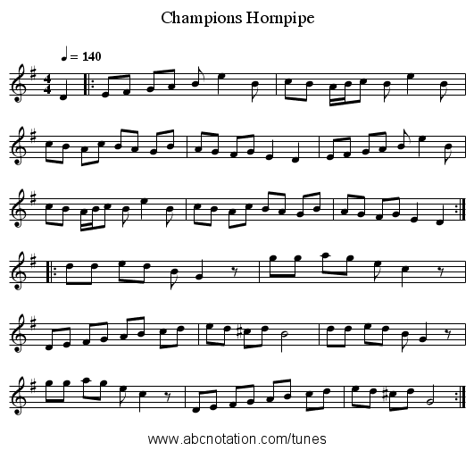 Champions Hornpipe - staff notation