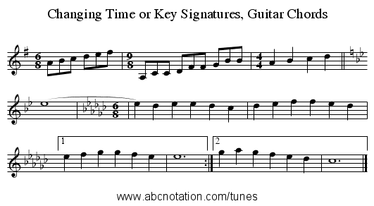 Changing Time or Key Signatures, Guitar Chords - staff notation
