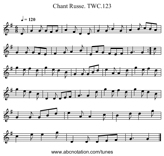 Chant Russe. TWC.123 - staff notation