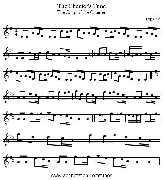 Chanter's Tune, The - staff notation