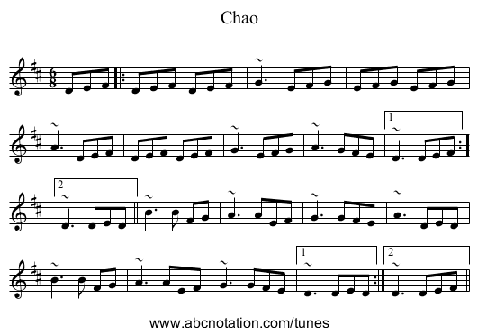 Chao - staff notation