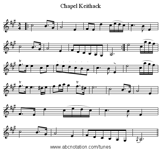 Chapel Keithack - staff notation