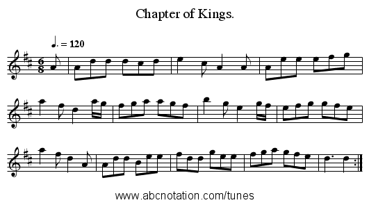 Chapter of Kings. - staff notation