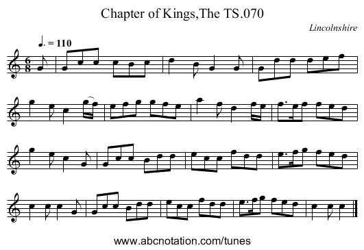 Chapter of Kings,The TS.070 - staff notation