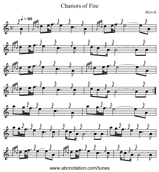 Chariots of Fire - staff notation