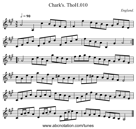 Chark's. ThoH.010 - staff notation