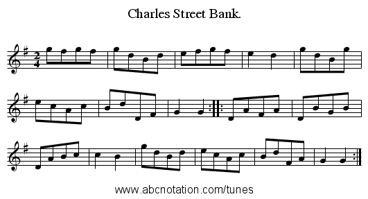 Charles Street Bank. - staff notation