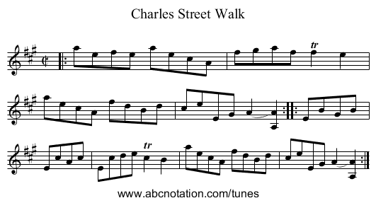 Charles Street Walk - staff notation