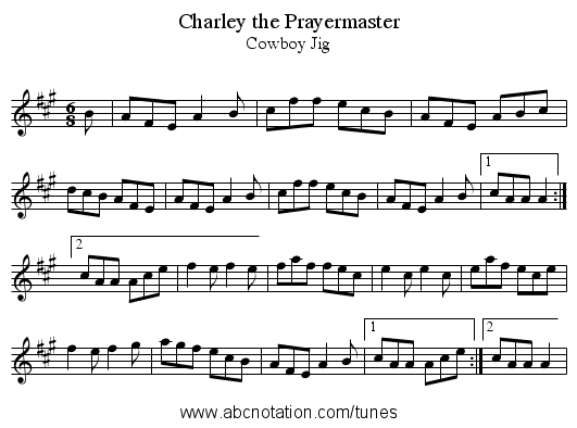 Charley the Prayermaster - staff notation