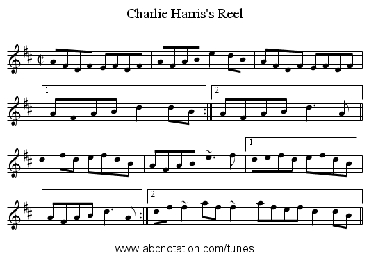 Charlie Harris's Reel - staff notation