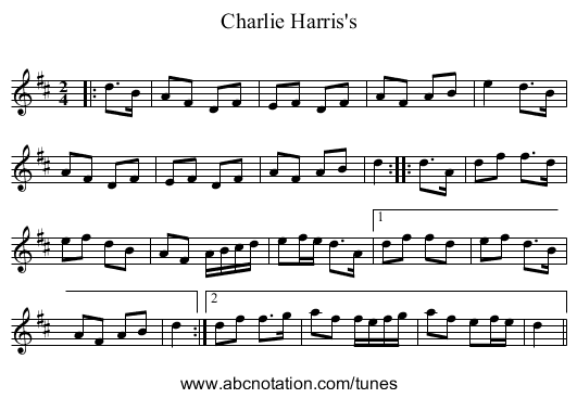 Charlie Harris's - staff notation