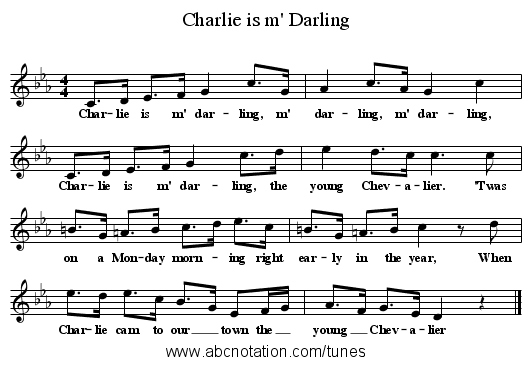 Charlie is m' Darling - staff notation