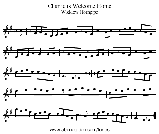 Charlie is Welcome Home - staff notation