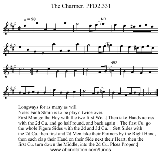 Charmer. PFD2.331, The - staff notation