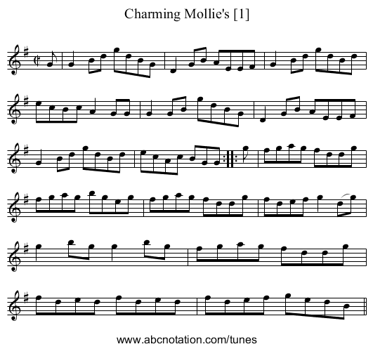 Charming Mollie's [1] - staff notation