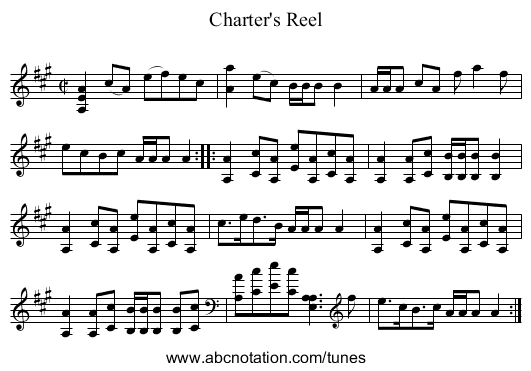Charter's Reel - staff notation