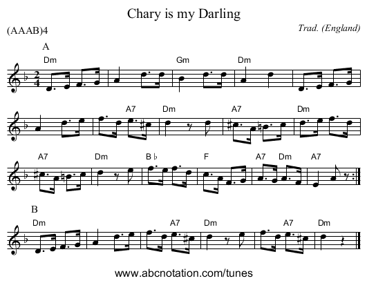 Chary is my Darling - staff notation