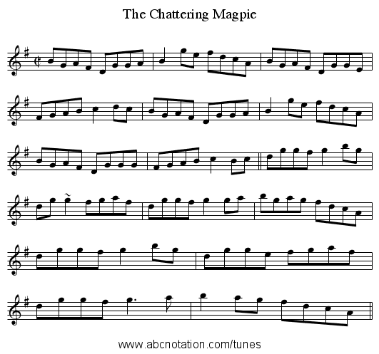 Chattering Magpie, The - staff notation