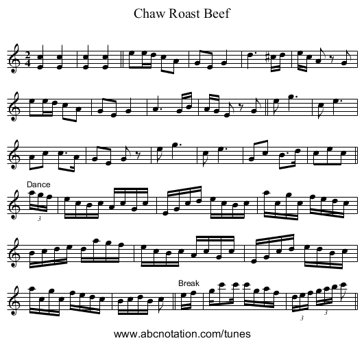 Chaw Roast Beef - staff notation