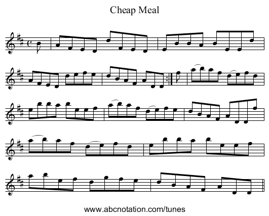 Cheap Meal - staff notation