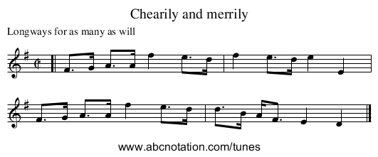 Chearily and merrily - staff notation