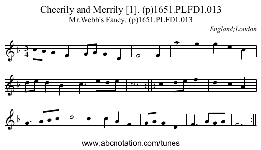 Cheerily and Merrily [1]. (p)1651.PLFD1.013 - staff notation