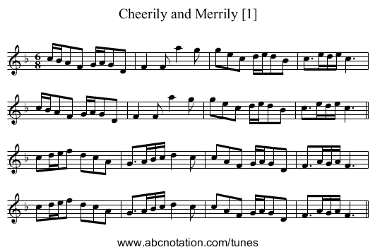 Cheerily and Merrily [1] - staff notation