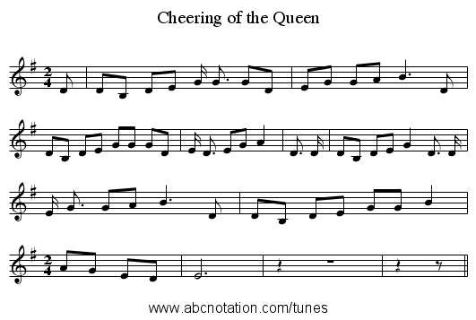 Cheering of the Queen - staff notation