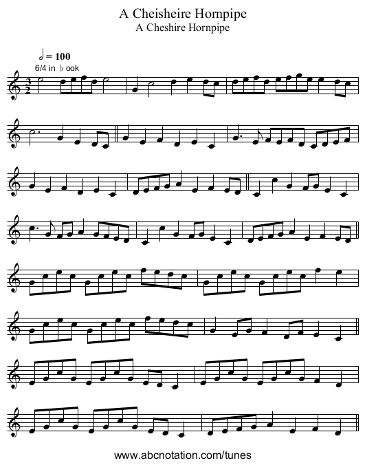 Cheisheire Hornpipe, A - staff notation