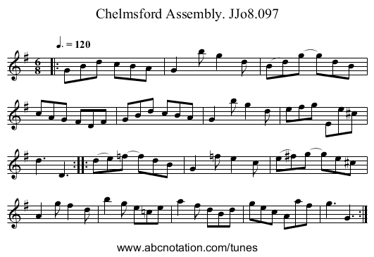 Chelmsford Assembly. JJo8.097 - staff notation