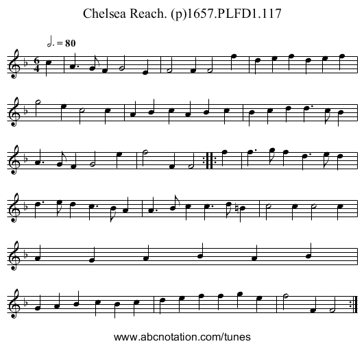 Chelsea Reach. (p)1657.PLFD1.117 - staff notation