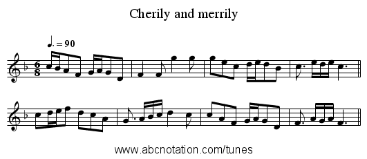 Cherily and merrily - staff notation