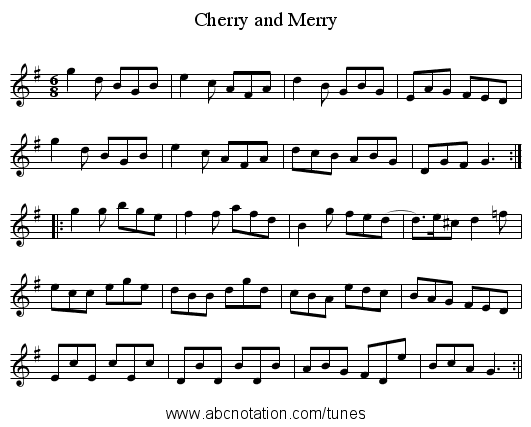 Cherry and Merry - staff notation