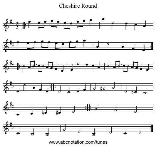 Cheshire Round - staff notation