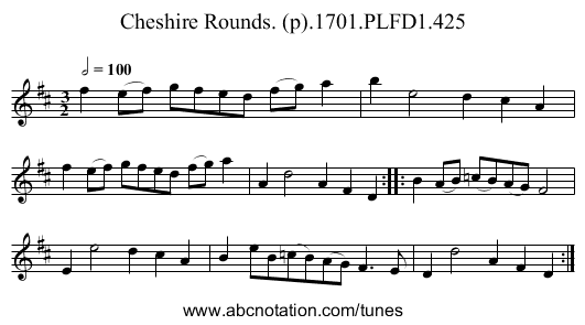 Cheshire Rounds. (p).1701.PLFD1.425 - staff notation