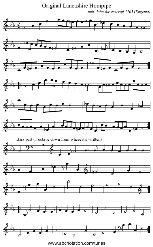 Chester Hornpipe - staff notation