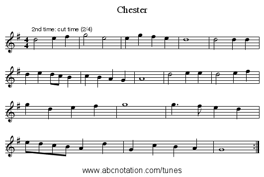 Chester - staff notation
