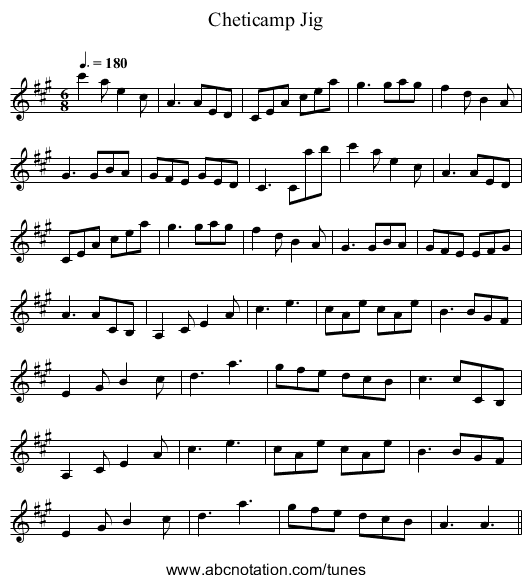 Cheticamp Jig - staff notation