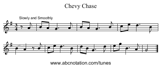 Chevy Chase - staff notation