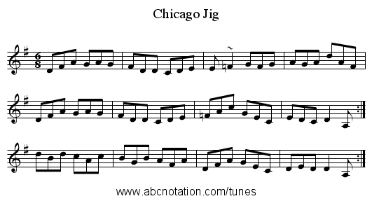Chicago Jig - staff notation