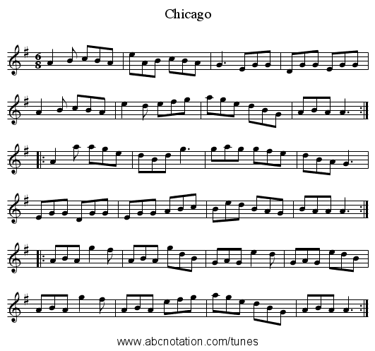 Chicago - staff notation