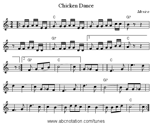 Chicken Dance - staff notation