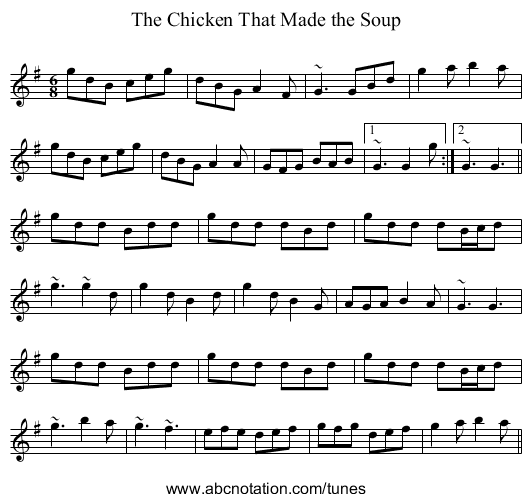 Chicken That Made the Soup, The - staff notation