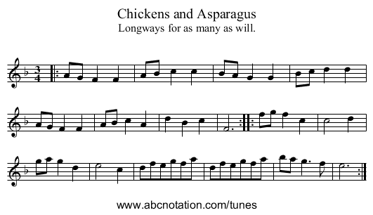 Chickens and Asparagus - staff notation