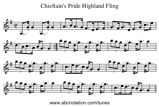 Chieftain's Pride Highland Fling - staff notation