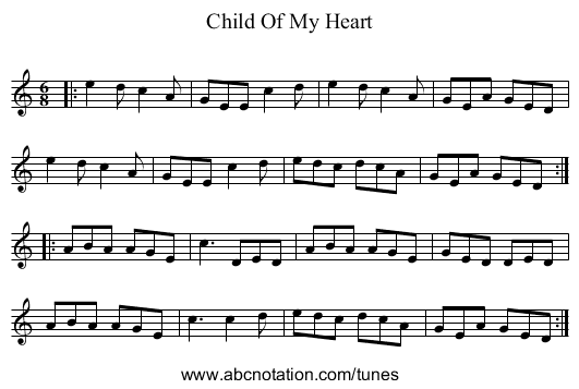 Child Of My Heart - staff notation