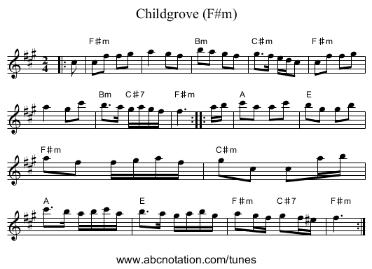 Childgrove (F#m) - staff notation