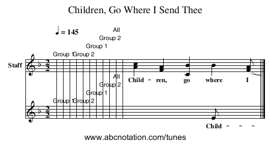 Children, Go Where I Send Thee - staff notation