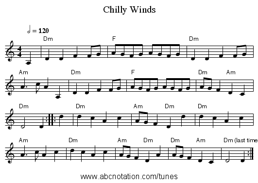 Chilly Winds - staff notation